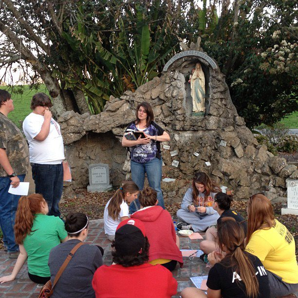 Mary speaking with a youth group about Blessed Virgin Mary, and how a devotion to Our Lady leads us straight to Jesus.
